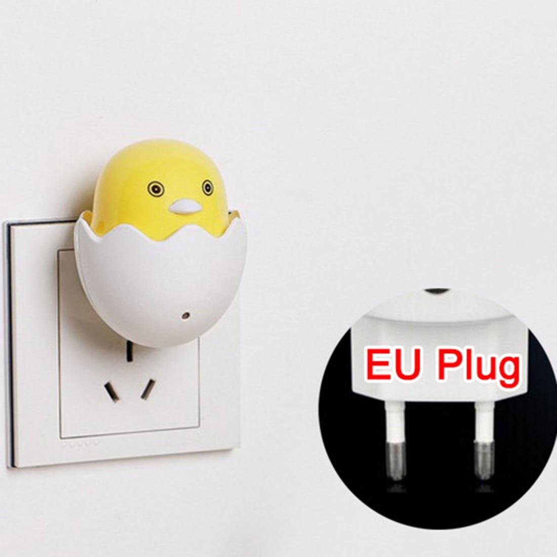 Cute Yellow Duck Bedroom Lamp Gift For Children EU Plug Wall Socket Lamps LED Night Light AC 220V Light Control Sensor