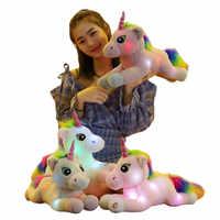 45cm kreatywny Luminous jednorożec wypchane lalki Kawaii miękkie zwierząt Led Light pluszowy jednorożec dla dzieci dzieci prezent na boże narodzenie