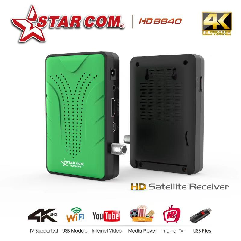 STARCOM Satellite Receiver Free IPTV DVBS2 M3U PowerVU Bisskey TV BOX Satellite TV Receiver Support 4K 1080P HD DVBS2