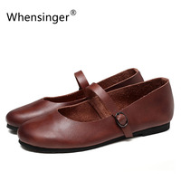 Whensinger 2017 Women Shoes Genuine Leather Flats Round Toe Spring Summer Style 0917