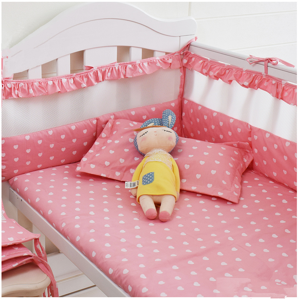 Pink Baby Girls Bedding Set Newborns Crib Bedding Set Designer Beby Bed Linens Set Breathable Cot Protect Bumpers 120*60 130*70