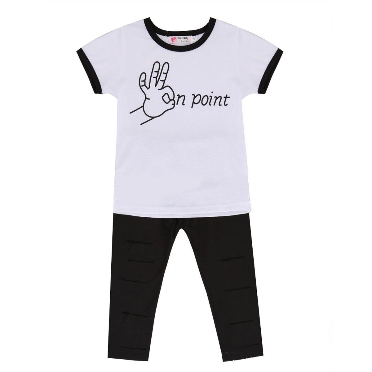 c66b7f4728c 2017 summer Two pcs Toddler Kid Baby Girls Outfit White Character T shirt  Tops+black Holes Long Pants Leggings Clothes Set-in Clothing Sets from  Mother ...