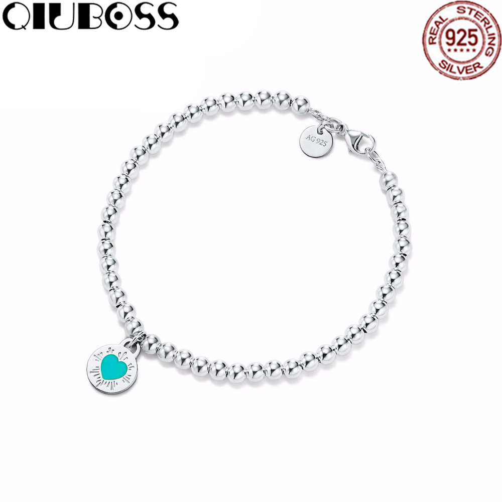QIUBOSS TIFF 925 Sterling Silver Original Round Heart Chain Bracelet Bangle For Women Authentic Fine Jewelry Christmas Gift trendy letter heart round rhinestone bracelet for women