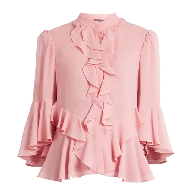 0601eb7c8c7 US $54.86 |2017 New Summer Women's Pink Ruffles Flare Sleeve Cute Chiffon  Shirts Tops-in Blouses & Shirts from Women's Clothing on Aliexpress.com |  ...