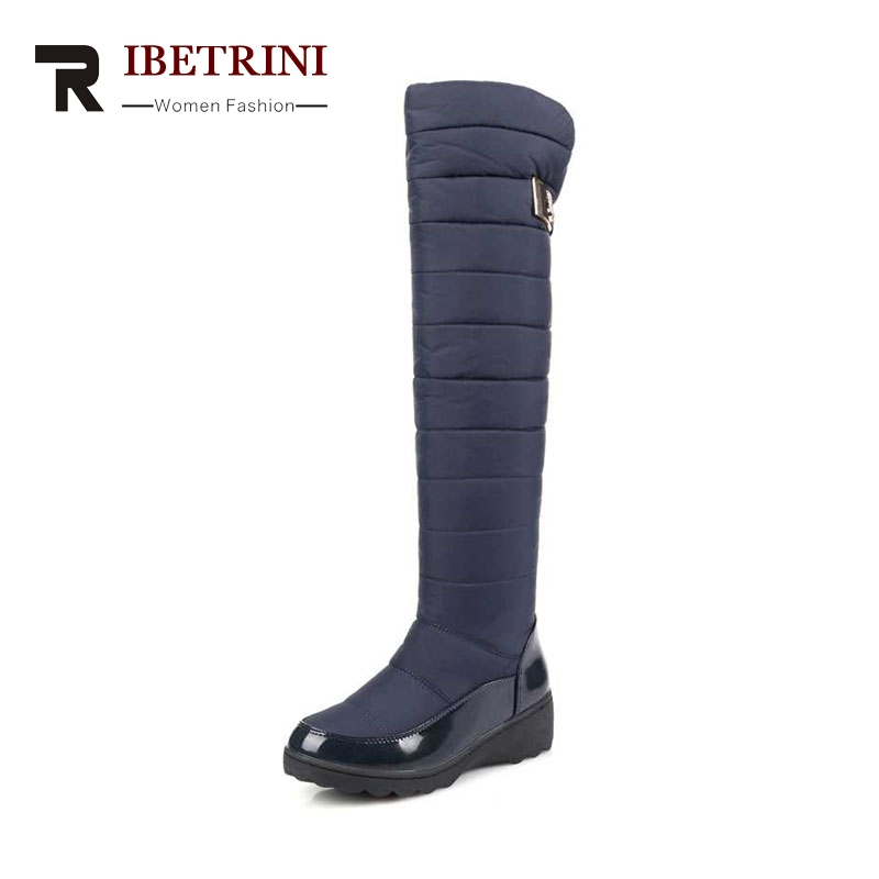 RIBETRINI Women's Winter Boots Warm Fur Shoes Woman Over Knee High Snow Boots Slip-On Waterproof Platform Big size 34-43 ribetrini 2017 fashion cow suede turned over edge ankle snow boots sewing warm fur platform low flat women shoes size 34 39