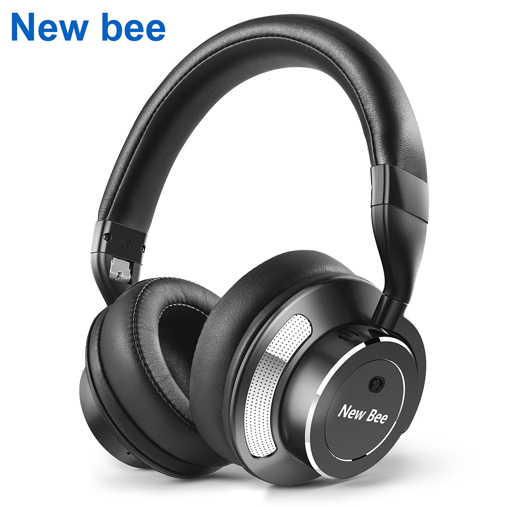 New Bee Active Noise Cancelling Wireless Bluetooth Headphone Stereo Deep Bass Headset Over-ear Earphone with Mic for Phone PC bingle b 910 b910 b910 m noise cancelling deep bass over ear stereo hifi dj hd studio music 3 5mm 6 3mm wired earphone headphone