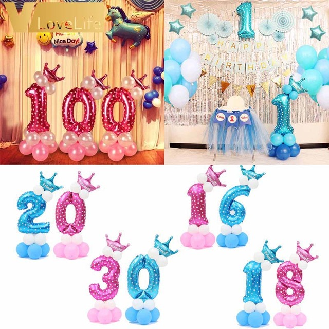 19pcs Baby Shower Foil 32inch Number Balloons Latex Balloon Child 0 9 Year Old Birthday