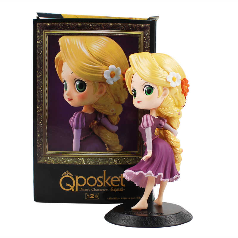13.5cm  Q Posket Tangled Rapunzel PVC Figure Model Toy Princess Doll Gift For Girls
