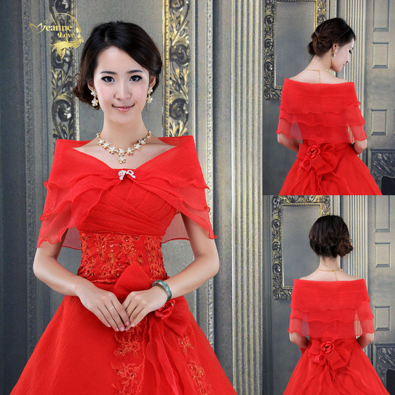 Red Women Seersucker Cape Bolero Shawl Scarf Mariage Bride Wedding Party Jackets Bridal Wraps For Evening Dress Cover Up Arms
