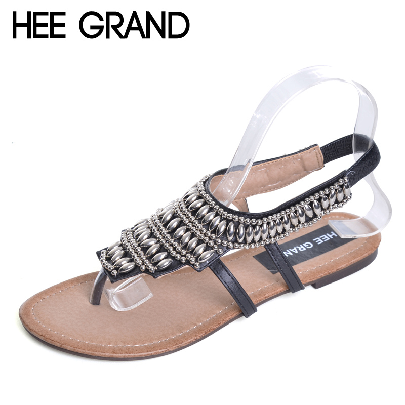 HEE GRAND Bohemia Gladiator Sandals 2017 Summer Style Flip Flops Vinatge Rhinestone Shoes Woman Slip On Flats Size 35-40 XWZ2166 hee grand summer flip flops gladiator sandals slip on wedges platform shoes woman gold silver casual flats women shoes xwz2907