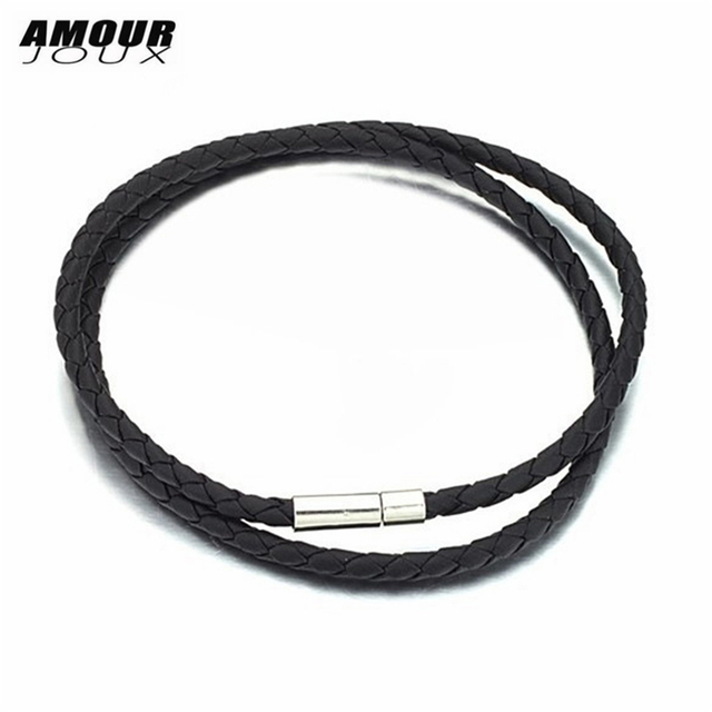 AMOURJOUX 4mm 48cm PU Leather Braided Stainless Steel Clasp Chains Necklaces For