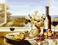 MaHuaf W1309 Preprandial Scenery Still Life Coloring By Numbers DIY Oil Painting Wall Art Home Bedroom