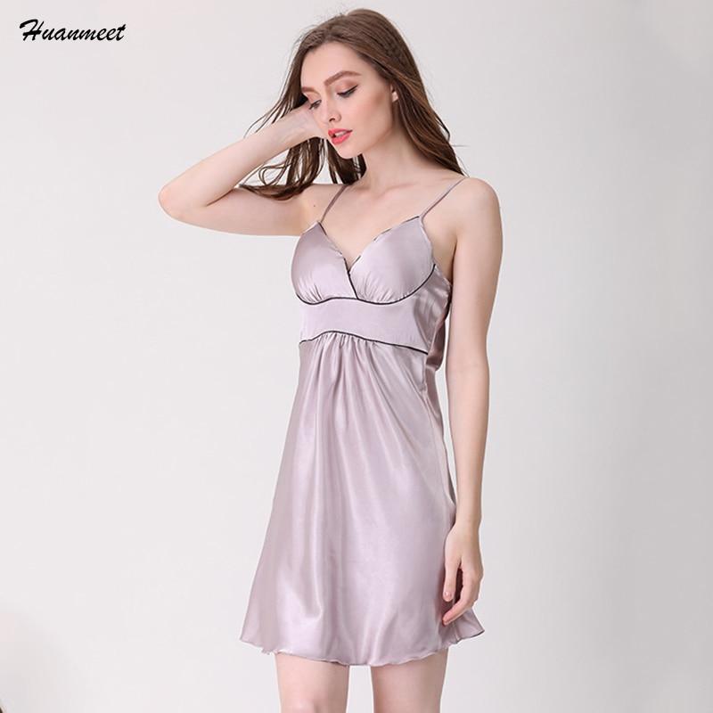 Huanmeet Women   Nightgowns   Silk Sleepwear Nightdress Women's Nighties Sexy Lingerie Night Dress   Nightgown     Sleepshirt   SY068