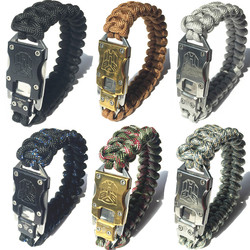 6 Piece 5 in 1 Survival Bracelet With Knife Tactical Knife Bracelet Self Defense Bracelet Knife EDC Knife on Parachute Rope