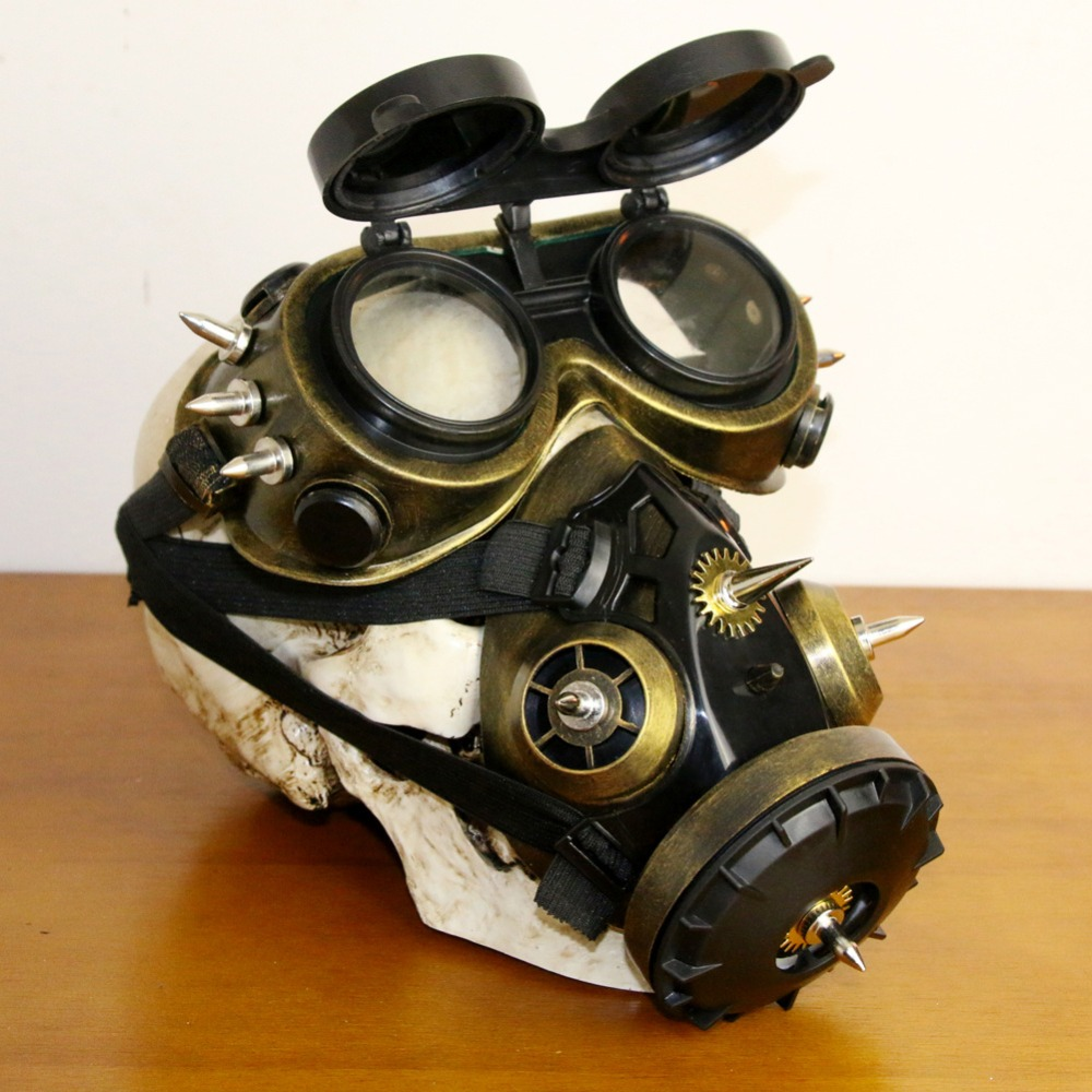 Kids Costumes & Accessories Black Plastic & Bronze Resin Rivet Retro Rock Full Face Respirator Gas Mask Goggles Halloween Gothic Accessories Steampunk Props