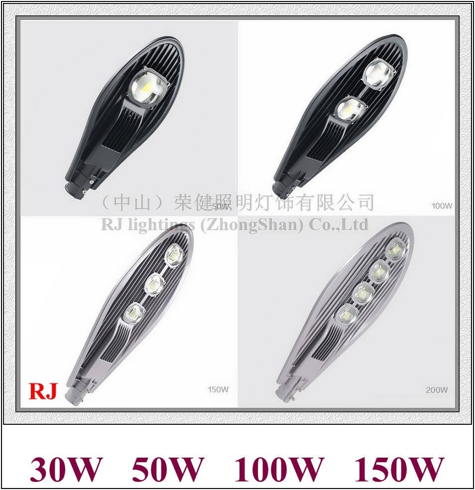 Epistar COB LED street light lamp LED road light IP65 30W / 50W / 100W / 150W AC85-265V 50HZ/60HZ sword style I RJ-LS-A