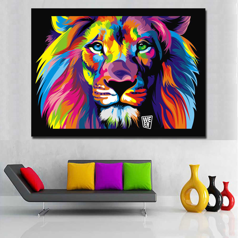 HD Print Pop Art Colorful Lion Abstract Animals Oil Painting on Canvas Modern Wall Art Picture for Kid Room Poster Cudros Decor
