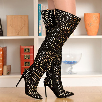 EMMA KING New Luxury Rhinestone Studded Thigh High Boots Women Pointy Toe Cutouts Thin High Heels Crystal Embellished Long Boots