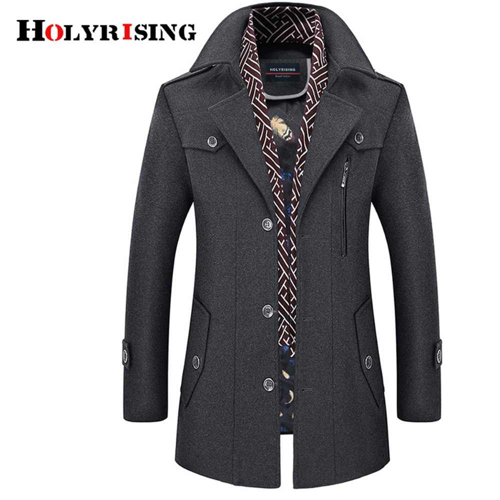 Holyrising גברים מעיל צמר מעיל הפעל צווארון חם מעילי צמר גברים מעילים ותערובות עם צעיף לנשימה להאריך ימים יותר 18423- 5