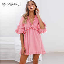 WildPinky Ruffle Women Short Dress Elegant Summer Female Plus Size Vestidos Vintage Casual Loose Hollow Out Cotton Linen Dresses