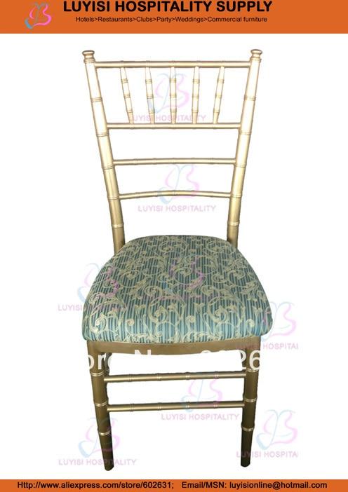 Gold Aluminum Chiavari Wedding Chair With Fixed Seat Cushion