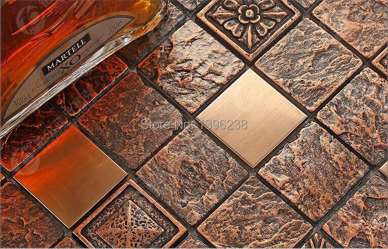 Copper Reddish Rustic Resin Backsplash Mosaic TilesStainless Steel Kitchen Bathroom Wall Border Home Meshback WallpaperLSRN02 In Wallpapers From