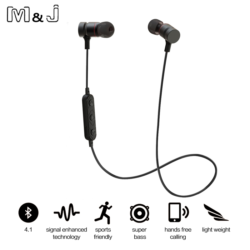 M&J HT9 Bluetooth Headphones Sport Running With Mic Earbud Wireless Earphones Bass Bluetooth Headset For iPhone Xiaomi mp3 100% original bluedio ht bluetooth headset with hd mic headband style bluetooth headphones for game