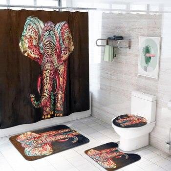 Multicolor ช้าง 4 ชิ้น/เซ็ตผ้าม่านอาบน้ำพรมชุดห้องน้ำ Bath ชุดอุปกรณ์ห้องน้ำผ้าม่านตะขอ