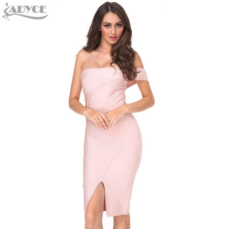 ADYCE 2019 Women Summer Bandage Dress Nude Black Off Shoulder Midi Club Dress Luxury Sexy Cocktail Runway Party Bodycon Dress