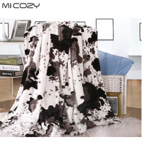 Cow Grain Polyester Blanket Double Layers 127x152cm Ultra Soft Fluffy Fashion Sofa Blanket