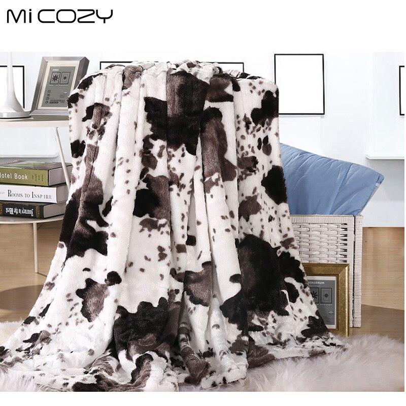Micozy mucca grano faux coperta di pelliccia doppi strati ultra morbido pv peluche polar reverse panno morbido divano rimessa laterale coperta, 125x150 cm