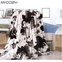Micozy vache grain faux couverture de fourrure double couches ultra doux pv en peluche polaire inverse polaire canapé jeter couverture, 125x150 cm