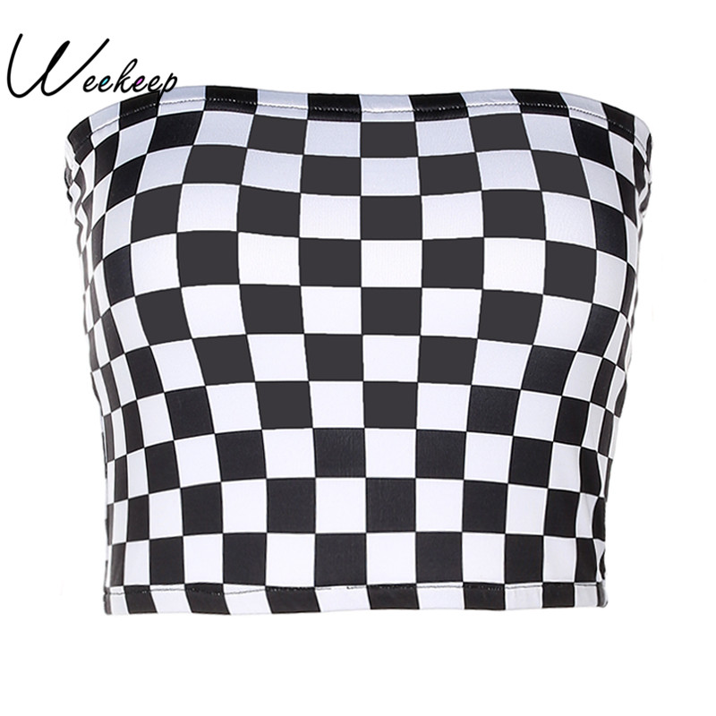 Weekeep Donne Plaid in Bianco E Nero Sexy Checkboard Ritagliata Top Bandeau Senza Bretelle Superiore Del Tubo 2017 di Modo Biancheria Intima Reggiseni