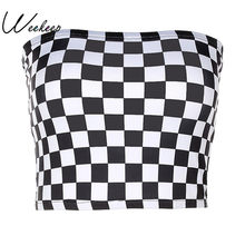 80af095d9f Weekeep Women Black And White Plaid Sexy Strapless Tube Top 2017 Fashion  Checkboard Cropped Bandeau Tops Underwear Bras