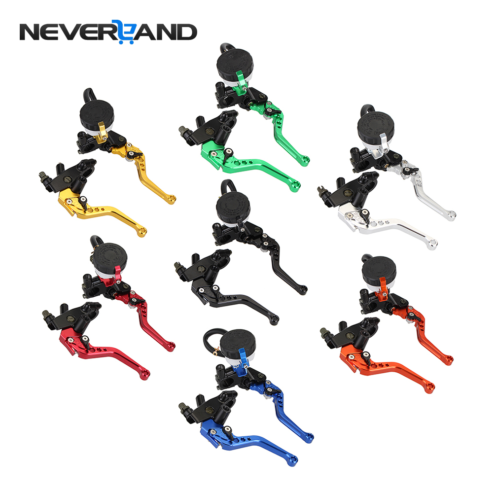 Universal Adjustable 22mm Motorcycle Brake Clutch Levers Master Cylinder Reservoir Set For Honda Suzuki Kawasaki Yamaha D25 universal brake master cylinder levers 7 8 22mm motorcycle brake clutch master cylinder reservoir levers set black new
