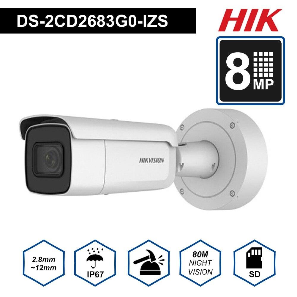 Hik Original 4 K caméra de Surveillance vidéo DS-2CD2683G0-IZS 8 mégapixels IR 50 m Varifocal 2.8-12mm lentille balle IP caméra extérieure