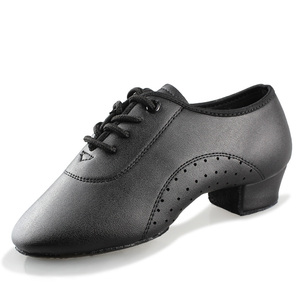 Image 3 - Latin Dance Shoes Boy Men Professional Leather Latin Shoes Black for Kids Low heeled