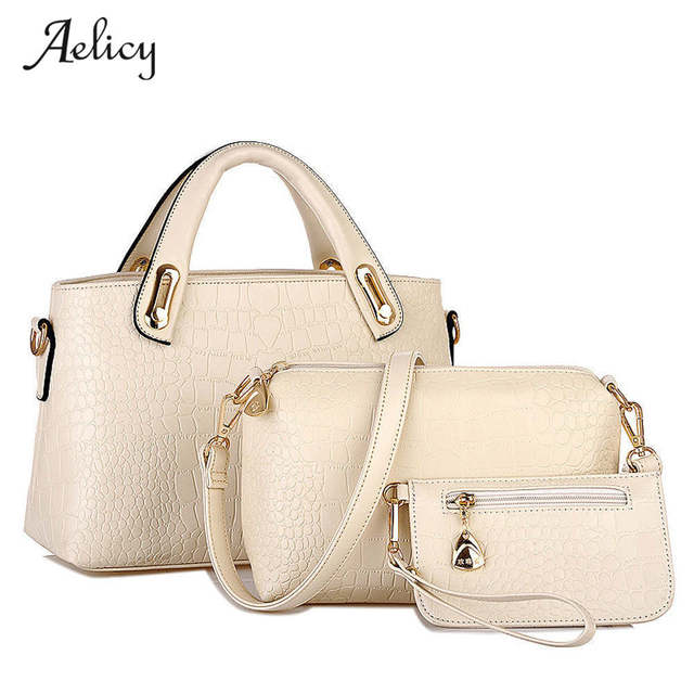 9e449b9a453d Aelicy 3 Sets Women Handbag Shoulder Bags Tote Purse Leather Ladies Brand  Messenger luxury handbags women designer shoulder bag
