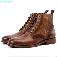 QYFCIOUFU Fashion New Mens Martins Boots Shoes Bussiness Ankle Boots Splice Vintage Genuine Leather Lace Up Brogue Chelsea Boots