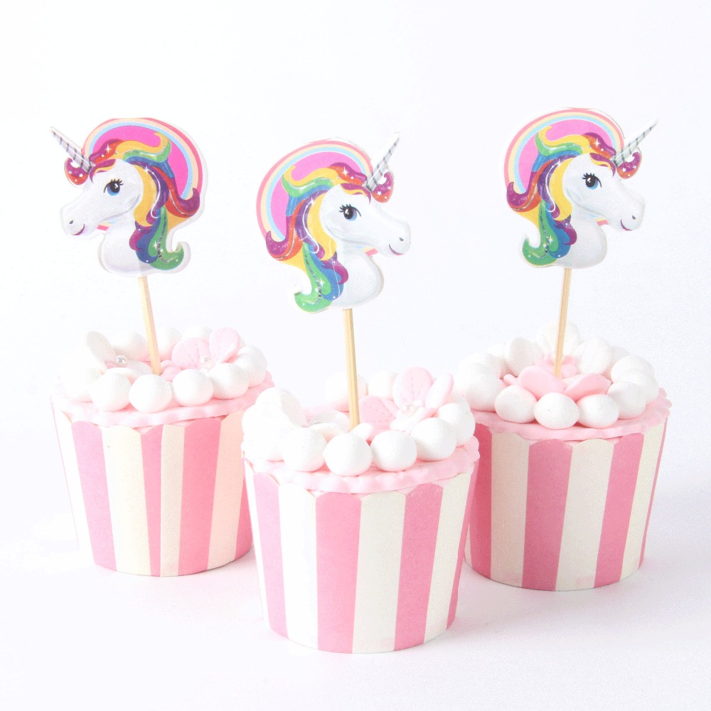24pcs lot color unicorn cupcake topper wedding 1st for Baby footprints cake decoration