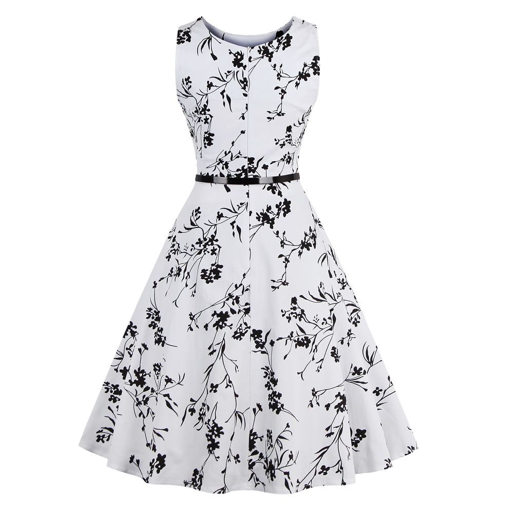 Summer Women's Lady Dress Sleeveless Retro Vintage Boatneck Party Medium Length Printing Dress FS99