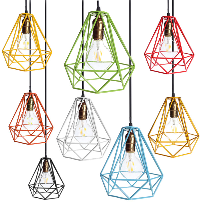 Industrial loft style multicolor edison modern metal wire frame industrial loft style multicolor edison modern metal wire frame ceiling pendant hanging light lamp lampshade cage fixture in lamp covers shades from greentooth Image collections