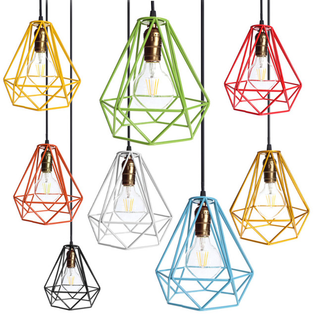 Aliexpress buy industrial loft style multicolor edison industrial loft style multicolor edison modern metal wire frame ceiling pendant hanging light lamp lampshade cage greentooth Image collections