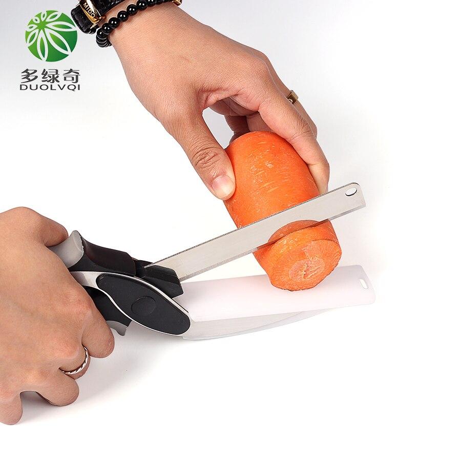 DUOLVQI multifunción 2 en 1 inteligente tijeras cortador Cortar utilidad tijeras inteligente cocina cuchillo vegetal