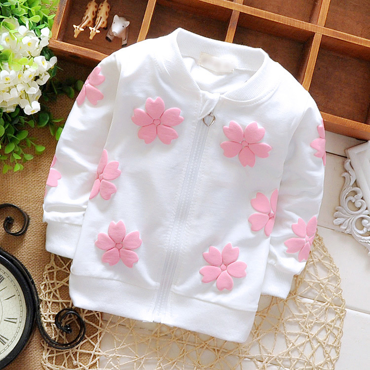 2016 new fashion baby girls coats floral cotton girls cardigan kids outerwear children clothing factory