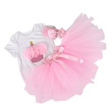 3PCs per Set Baby Girls' Pink Cupcake Birthday Tutu Set Infant Romper Bubble Skirt Headband