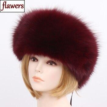 2019 Women Winter Natural Real Fox Fur Hat 100% Real Fox Fur Cap Quality Russia Warm Real Fox Fur Caps Real Fox Fur Bomber Hats фото