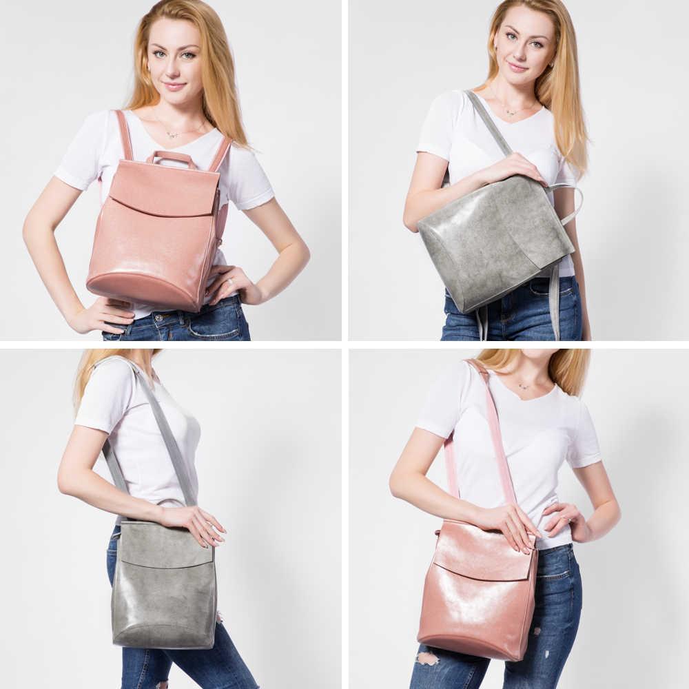 REALER kadın sırt çantası bölünmüş deri genç kızlar için okul çantaları yüksek kaliteli kadın çok fonksiyonlu seyahat sırt çantaları bayan çantası