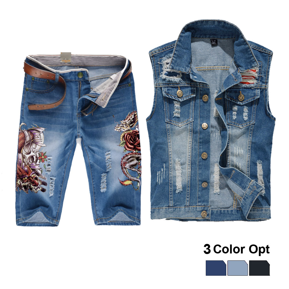 Men Jean Vest Jacket Set Retro Ripped Destroyed Skinny Hole Top Denim Short Pants 1/2 Trousers Summer Beach Wear Blue Frog