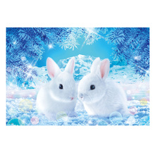 DIY diamond painting white rabbit couple in winter full embroidery Mosaic cross stitch decor